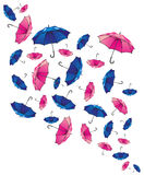 Set of colorful umbrellas. Set of umbrellas. Colorful background royalty free illustration