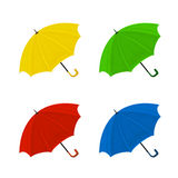 Set of colorful umbrellas on a white background. Set of colorful umbrellas isolated on a white background, illustration Royalty Free Stock Images