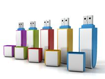 Set of colorful usb flash drive memory on white background Royalty Free Stock Photo
