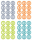 Set of 4 colorful user interface keypad Royalty Free Stock Photo