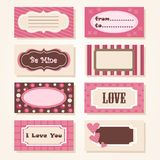 A set of colorful Valentine tags Stock Image