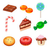 Set of colorful various candy, sweets and cakes Stock Photo