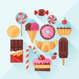 Set of colorful various candy, sweets and cakes Stock Image