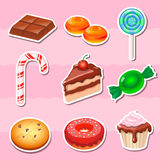 Set of colorful various  candy, sweets and cakes Royalty Free Stock Photos