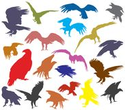 Set of colorful vector american eagle silhouettes. Set of vector colorful cut out flying and sitting silhouettes of american eagle white-tailed eagle, bald eagle Stock Images