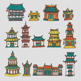 Set of colorful vector asian temples and manor houses Royalty Free Stock Photography