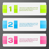 Set of colorful vector banners. Progress background / product choice or versions Stock Images