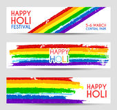 Set of colorful vector banners for Holi festival Stock Images