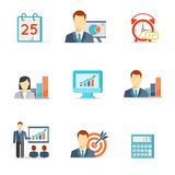 Set of colorful vector business icons. Including a calendar  alarm clock  bar graphs  monitor with a chart  presentation  target and calculator isolated on Stock Photography