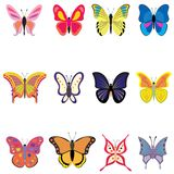 Set of colorful vector butterflies Royalty Free Stock Photo