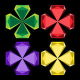 Set of colorful vector diamonds in shape of crosses isolated on black background Royalty Free Stock Photos