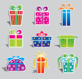 Set of colorful vector gift boxes . Royalty Free Stock Photos