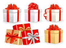 Set of colorful vector gift boxes with bows. stock illustration