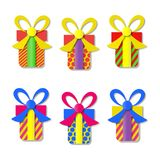 Set of colorful vector gift boxes with bows and ribbons. Set of colorful vector gift boxes with bows and ribbons Royalty Free Stock Photography