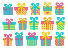 Set of colorful vector gift boxes with bows and ribbons. Set of colorful vector gift boxes with bows and ribbons Royalty Free Stock Images