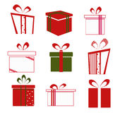 Set of colorful vector gift boxes . Stock Photos