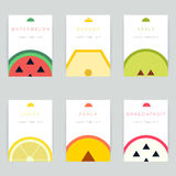 Set of colorful vector greeting card design with fruit backgroun Royalty Free Stock Images