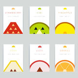 Set of colorful vector greeting card design with fruit backgroun Royalty Free Stock Photos
