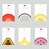 Set of colorful vector greeting card design with fruit backgroun Stock Photo