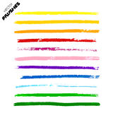 Set of colorful vector hand drawn paint lines Royalty Free Stock Images