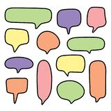 Set colorful vector of hand drawn speech bubble royalty free illustration