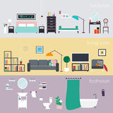 Set of colorful vector interior design house rooms with furnitur Royalty Free Stock Photos
