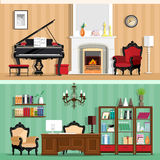 Set of colorful vector interior design house rooms with furniture icons: living room and home office. Rooms with vintage interior Stock Image