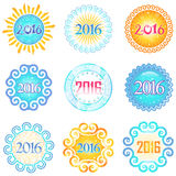 Set of Colorful Vector Labels for Celebrate New 2016 Year. Decorative Frames and Shapes for Sticker Design Stock Photos
