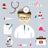 Set of colorful vector medical icons Stock Photo