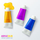 Set of colorful vector paint tubes Royalty Free Stock Photos
