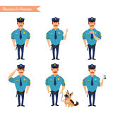 Set of colorful  vector policeman at work. Royalty Free Stock Images