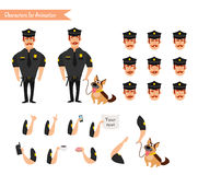 Set of colorful  vector policeman at work. Stock Photo