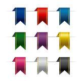 Set of colorful vector ribbons. Decorative objects  on white background. Celebration party design elements Royalty Free Stock Photography