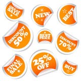 Set of colorful vector sale stickers and labels. Stock Image