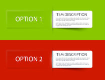 Set of Colorful Vector Sample option cards Royalty Free Stock Photography