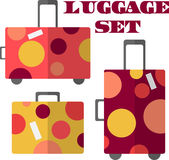 Set of 3 colorful vector suitcases Royalty Free Stock Photography