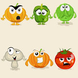 Set of colorful vegetable cartoon characters. Royalty Free Stock Image