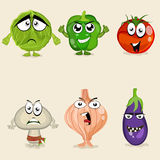 Set of colorful vegetable cartoon characters. Stock Photography
