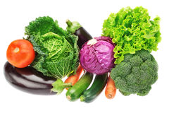 A set of colorful vegetables of cabbage, broccoli, zucchini. Stock Images