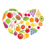 Set Colorful Vegetables and Fruits in Heart Shape Stock Photo