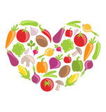 Set Colorful Vegetables in Heart Shape Stock Photo