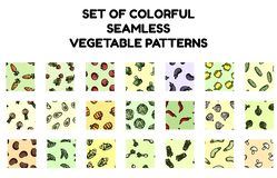 Set of colorful vegetables seamless patterns. Flat design collection of background texture tiles stock illustration