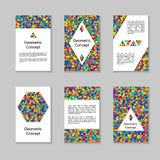 Set of Colorful Vertical Cards or Banners Design with Symmetric. Triangles. Collection of Templates with Triangular Rainbow Mosaic. Geometric Concept Royalty Free Stock Image