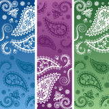 Set of colorful vertical paisley banners Royalty Free Stock Image
