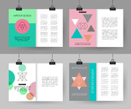 Set of colorful vintage cards with hipster. Triangular symbols. Best creative geometric design for poster, placard, brochure, flyer, presentation with place for vector illustration