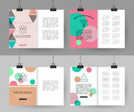 Set of colorful vintage cards with hipster. Triangular symbols. Best creative geometric design for poster, placard, brochure, flyer, presentation with place for royalty free illustration
