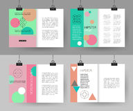 Set of colorful vintage cards with hipster. Triangular symbols. Best creative geometric design for poster, placard, brochure, flyer, presentation with place for stock illustration