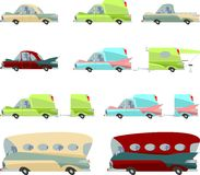 Set of colorful vintage cars. A set of various cars in cartoon style Stock Photos