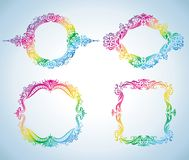 Set of colorful vintage frames. Stock Image