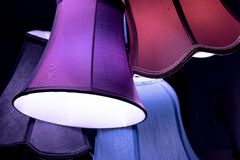 Set of colorful vintage lamp shades Royalty Free Stock Images